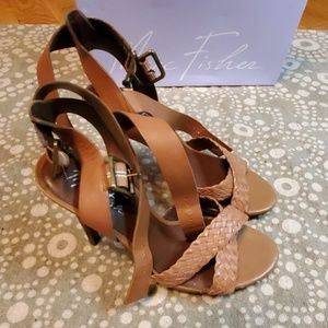 Marc Fisher brown double strap ankle buckle